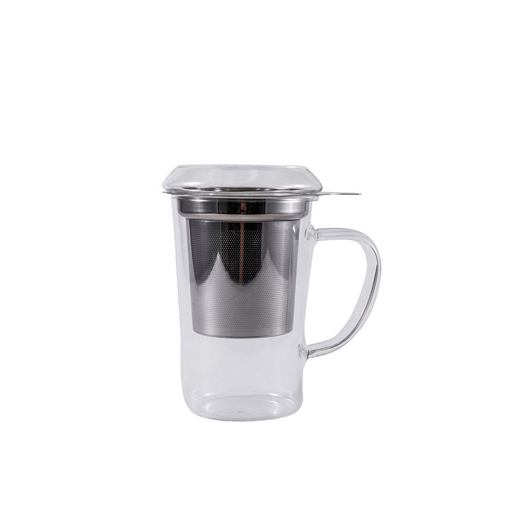 mug 400ml en verre avec couvercle et filtre inox la casa maroc. Black Bedroom Furniture Sets. Home Design Ideas